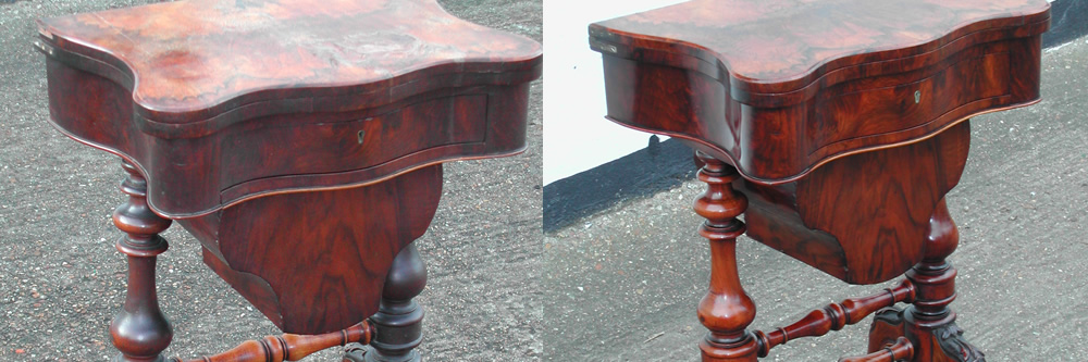 Victorian games table restoration veneering structural repairs and french polishing