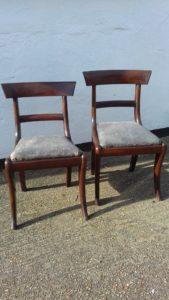 Pair of rosewood Regency dining chairs